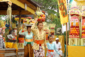 Bali temple ceremony in the village