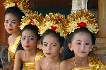 young Bali dancers in traditional costume