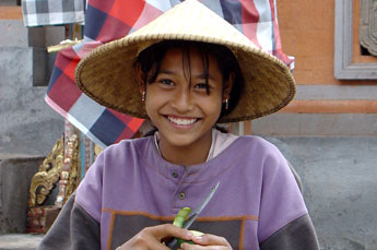 young village girl in Bali